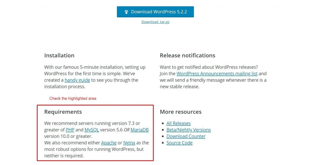 Requirements for WordPress installation